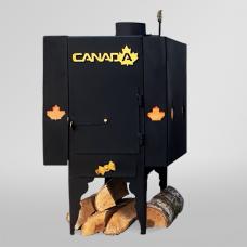 Печь дровяная Canada длительного горения с теплоаккумулятором и защитным кожухом