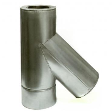 Ø130/200 Тройник 45* к/оц 1мм нержавеющая AISI 304 сталь