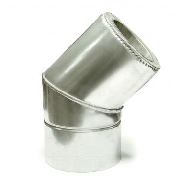 Ø130/200 Колено 45° к/оц 1мм нержавеющая AISI 304 сталь
